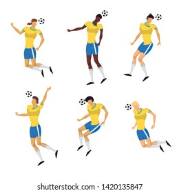 Woman Soccer Players set in action. Football girls play game people characters. Vector illustration set.