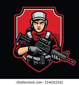 woman soldier mascot hold the assault rifle