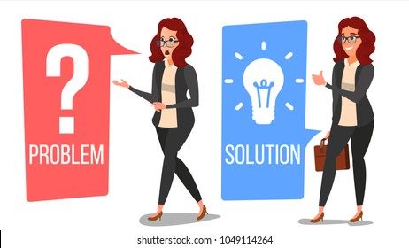 Woman Solving Problem Vector. Problem Solution, Secret Discovery. Career Success. Creative Project Idea. Issue, Trouble. Isolated Flat Cartoon Illustration