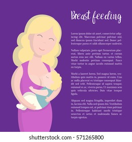 Woman and son breast feeding. Vector illustration with a place for text
