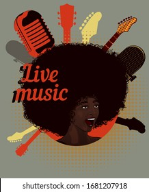 Woman soul singer. Afro hairstyle. Vector image. Jazz and blues music. Vintage poster