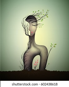 woman soul, surrealistic woman statue, woman shape abstract idea with red rose growing inside, spring dream icon concept, surrealism, vector