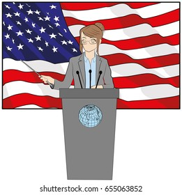Woman speaker on american flag background. Hand drawn cartoon vector illustration for design and infographics.