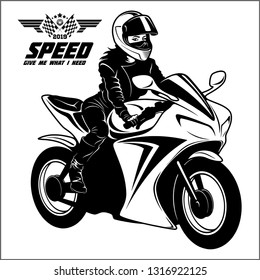 Woman and sport motorbike - monochrome vector illustration isolated on white.