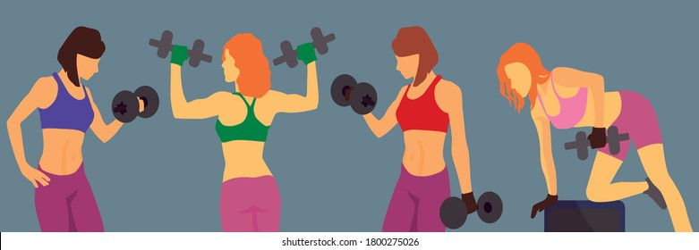 Woman in sport outfits holding dumbbells. Girl in gym swing arm muscles. Vector flat illustration background. Sportswear leggings and trainers set. Sexy bodybuilder. Design - Shutterstock ID 1800275026