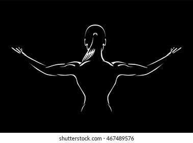 Woman spreading out arms for show back muscles in the dark.