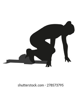 Woman sprinter leaps from starting block. Vector silhouette