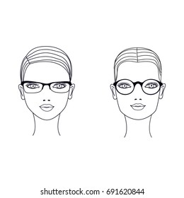 ea3c7b9a84 Woman square and round face types. Glasses shape suitable for different  faces. Vector illustration
