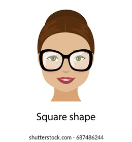 Woman with square shape face. Type of face for makeup, glasses and fashion style. Vector