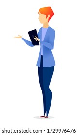 Woman stand alone, person isolated on white. Manager or secretary talking or consulting somebody. Businesswoman with notepad in suit, jacket and pants on meeting. Vector illustration in flat style
