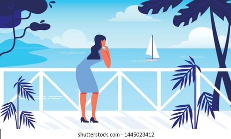 Woman Stand on Waterfront Looks at Sea and Sailboat. Training for Women. Vector Illustration. Silhouette Dress Case. Woman on Terrace with View to Sea. Happy Holiday. Summer Enjoy. Summer Fashion Look