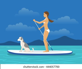 Woman Stand Up Paddling on Sap board with her Dog on a Sea