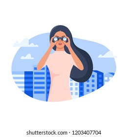 Woman standing among city buildings and watching through binoculars . Flat style vector illustration isolated on white background