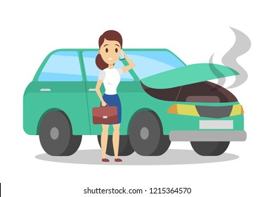 Woman standing at the broken green car and calling to the mechanic on the phone. Automobile repair service. Smoke from the auto. Flat vector illustration