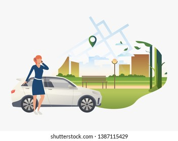Woman standing by car with city park in background. Transport, vehicle concept. Vector illustration can be used for topics like business, car sharing service, transportation