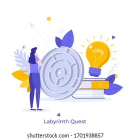 Woman standing in front of maze, thinking, trying to find exit and solve task. Concept of labyrinth quest, logic game, teaser or riddle, smart decision. Modern flat colorful vector illustration.