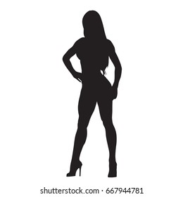 Woman standing with hand on her hip, vector silhouette