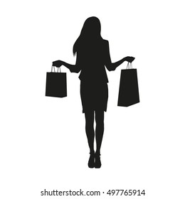 Woman standing and holding shopping bags. Isolated vector silhouette of shoppers