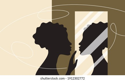 Woman standing and looking at her reflection in a mirror. Self confidence and self awareness concept. Vector illustration
