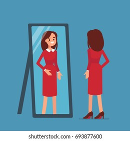 Woman standing and looking in mirror. Flat style vector illustration.