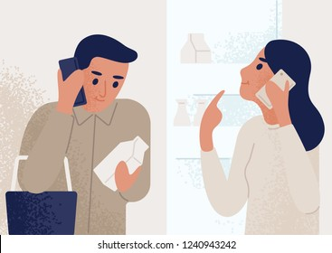 Woman standing near opened refrigerator and talking on mobile phone to man shopping for groceries. Couple communicating through smartphone. Telephone conversation or dialog. Flat vector illustration.