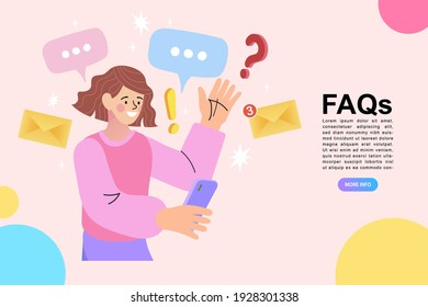 Woman standing near Question. Online Support center. Frequently Asked Questions Concept. Flat Vector Illustration.