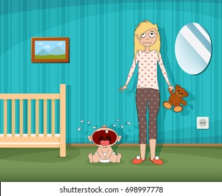 Woman is standing next to a crying child. Children room with a cot. Fatigue and depression of the parent. Stock vector cartoon graphic.