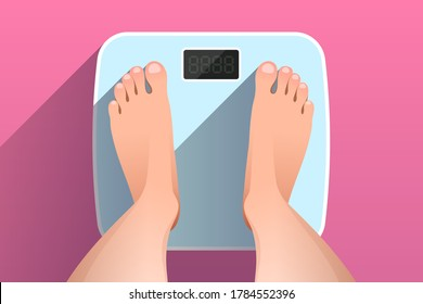 Woman is standing on bathroom scales over colored background, top view of feet. Weight measurement and control. Concept of healthy lifestyle, dieting and fitness
