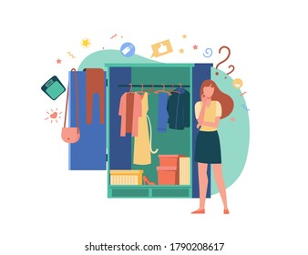 Woman standing at open wardrobe and choosing clothes to wear. Vector illustration for garment, outfit, storage organization, closet, routine, choice concepts