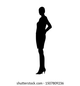 Woman standing, side view. Isolated vector silhouette. Young businesswoman in formal clothing