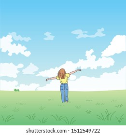 A woman stands with arms wide open against a wide field and wide sky. hand drawn style vector design illustrations.
