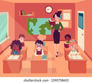 Woman stands in classroom holding book and children sit at desks cartoon style, vector illustration. Female teacher at lesson reading to her cute happy pupils, primary school education