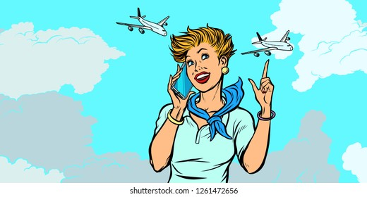 woman stewardess with phone, sky and planes. Pop art retro vector illustration kitsch vintage