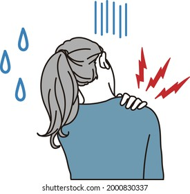 A woman with stiff shoulders