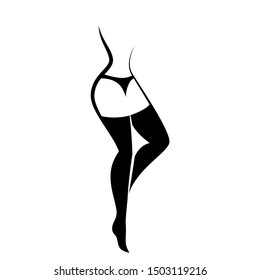 Woman in stockings and underpants. Silhouette. Side view. Isolated vector illustration