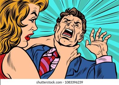woman strangling man. Female power. Pop art retro vector illustration cartoon comics kitsch drawing
