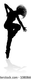 A woman street dance hip hop dancer in silhouette