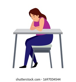 woman with stress attack in desk vector illustration design