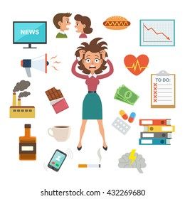 Woman in stress and panic, surrounded by work and stress factors icons, concept for stress at work, burnout, too much work, vector illustration.