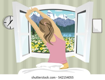 Woman stretching in bed after wake up, back view on summer mountain scenery