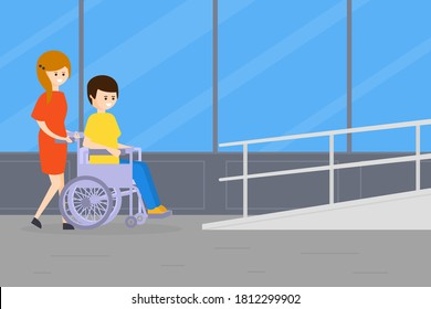 Woman Strolling with Disabled Man in Wheelchair, Handicapped Person and Volunteer or Friend Helping Him Vector Illustration