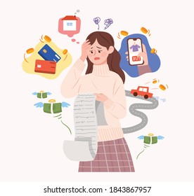 A woman is struggling with credit card debt and expenses. Concept illustration about installment debt.