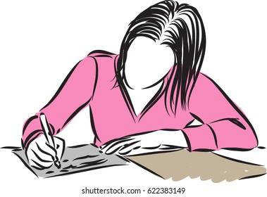 woman student writing vector illustration