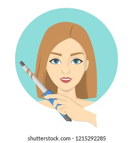 Woman styling her hair with curling iron. Girl with blonde hair make cute wavy hairstyle. Idea of beauty and fashion. Isolated vector illustration
