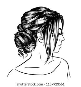 Sketch Girl Head Long Hair Two Stock Vector Royalty Free 732177613
