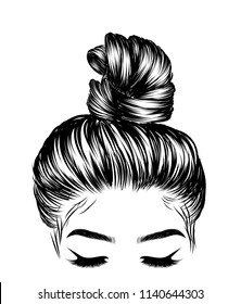Woman with stylish classic bun with perfet eyebrow shaped and ful. Illustration of business hairstyle with natural long hair. Hand-drawn idea for gretting card, poster, flyers, web, print for t-shirt.