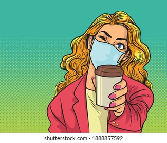 woman in stylish medical face mask and jacket drink coffee from paper cup. Beautiful trendy woman in pink shirt  protective face mask hold disposable cup of coffee or tea. Quarantine lifestyle