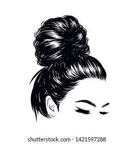 Woman with stylish messy  bun with perfect eyebrow shaped and full. Illustration of business hairstyle with natural long hair. Hand-drawn idea for greeting card, poster, flyers, web, print for t-shir