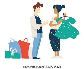 Woman and stylist fashion shopping choosing dress bags and box vector buying or purchasing clothes isolated male and female characters polka-dot gown on hanger asking advice shopaholic or shopper.
