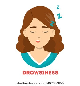 Woman suffer from drowsiness. Tired person sleep. Bored and exhausted girl. Sleepy person. Isolated vector illustration in cartoon style